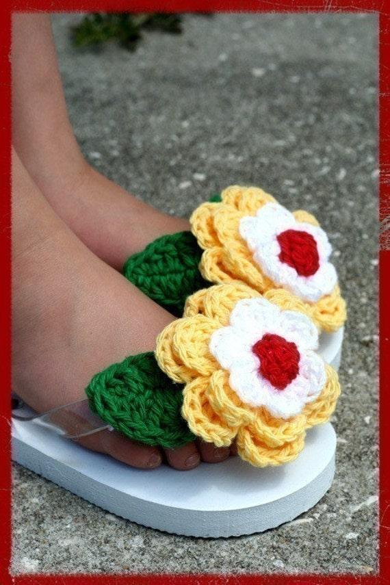 Tip-Top Flip-Flops I, Triple Layered Flowers Crochet Pattern