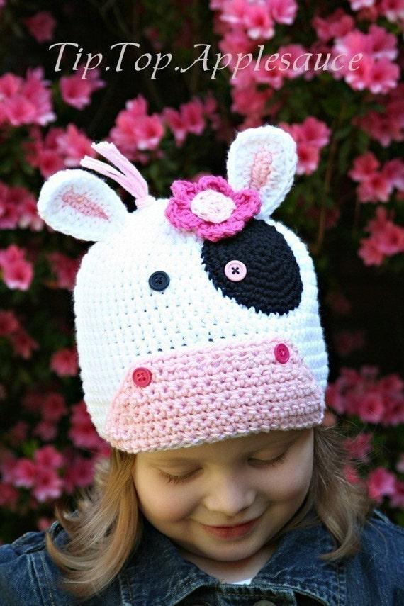 Amigurumi Crochet Hat Patterns : Amigurumi Animal CUTE COW Hat Crochet Pattern by ...