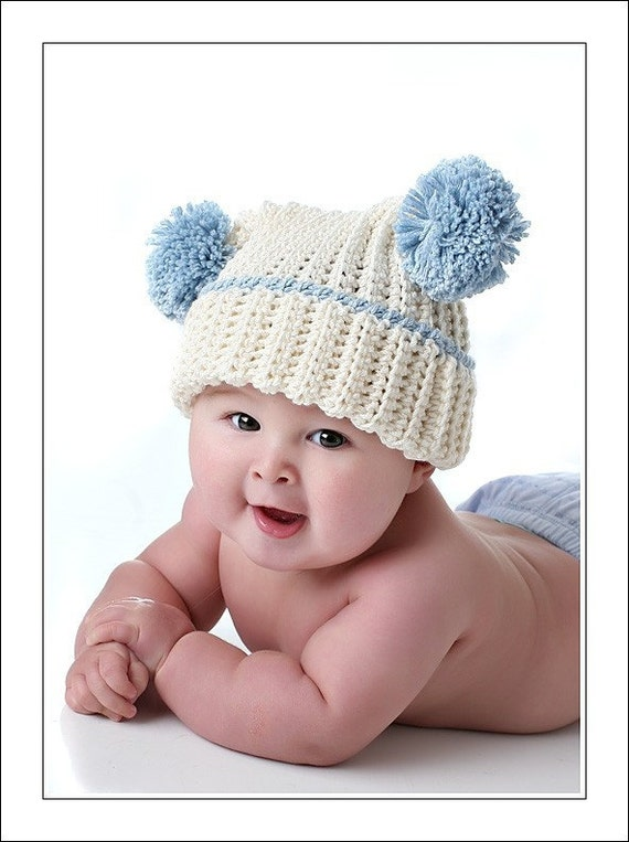 Sweet Baby Portrait Pom-pom Hat  Custom Colors and Sizes