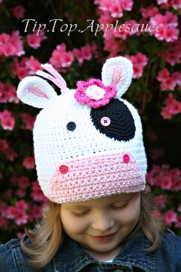 Crochet Pattern Cow Hat : Amigurumi Animal COW crochet Silly hat Custom by ...