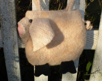 Pattern  Crochet Felted Wool  Pig Bag