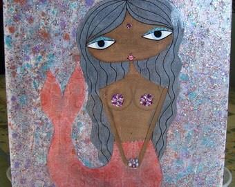 11 x 14 inch Mixed Media Original Painting - Mermaid