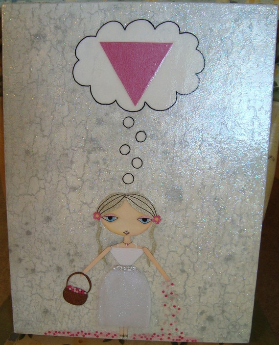 12 x 16 inch Mixed Media Original Painting - Flower Girl