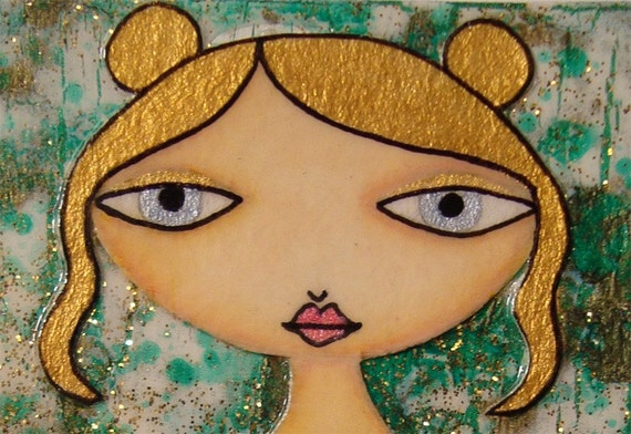 ACEO (Original) - Green and Gold 3/6