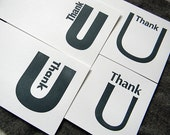 Typographic U's, San Serifs (letterpress thank you note set of 4 different cards)