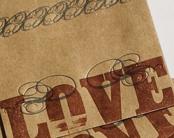 LOVE (set of 50 letterpress printed CD /  DVD sleeves)