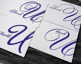 Typographic U's, Scripts (letterpress thank you note set of 4 different cards)