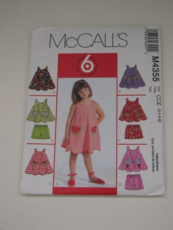 McCall's Girls Dress Pattern-OOP-Size 3,4,5,6-A-line dress, Top, Shorts