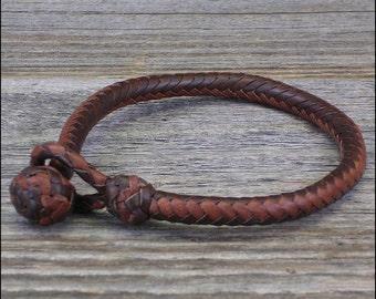 10 Strand Herringbone Braid Leather Bracelet