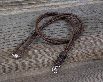 Break Away Braided Leather ID Lanyard