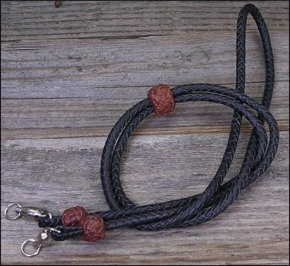 Black 6 Strand Round Braid Leather Lanyard