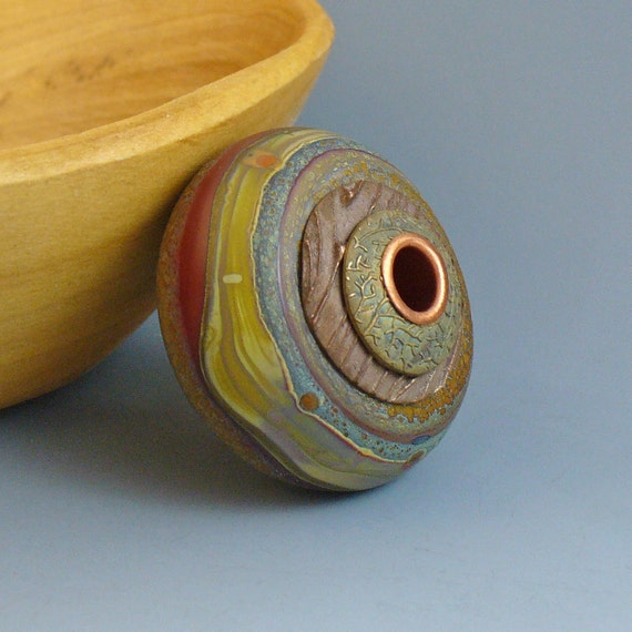 Canyon Wall Hollow Focal Capped and Cored BHB Bronzclay Beadcaps Etched SRA