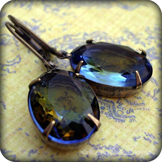 Eclipsed Glory: dualtone topaz and sapphire vintage glass earrings (LAST PAIR)