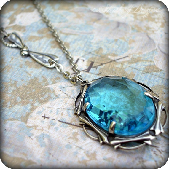 Lady of the Lake: oversize vintage aqua glass jewel silver art nouveau setting necklace