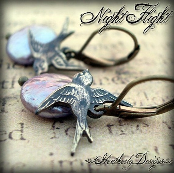 NIGHT FLIGHT Coin Pearl and Swallow Earrings