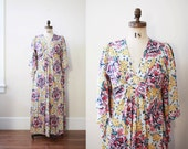1970's boho maxi dress with angel wing sleeves - Molyclaire - full length floral summer gown