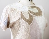 1980's slouch sweater - short sleeved boucle knit blouse by Mariea Kim - large petal design
