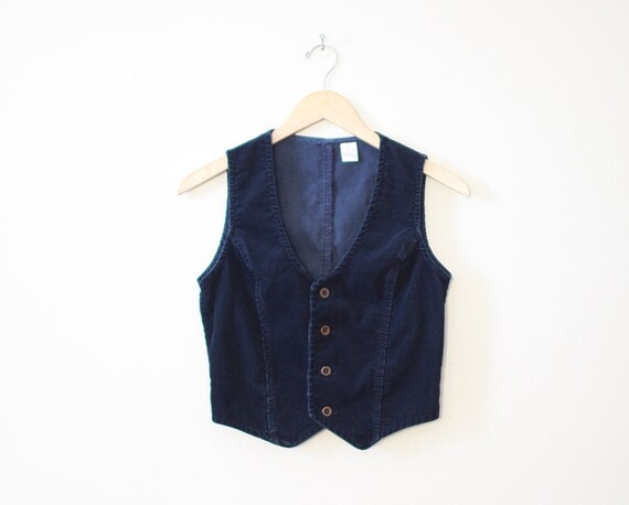 Wrangler navy blue 1970's corduroy vest - cropped fitted women's / junior's
