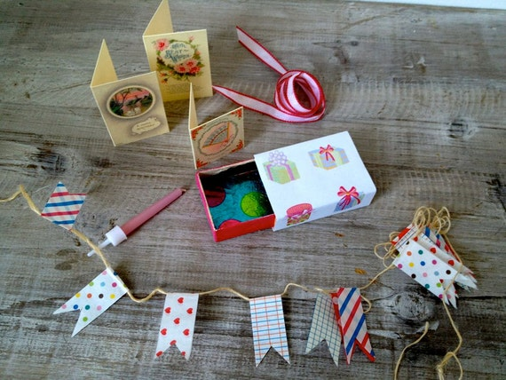 Altered vintage matchbox with a birthday party inside
