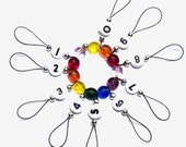 Row Counter, Stitch Markers, SnagFree, Circular Row Counter Rainbow Czech Glass Medium Loop