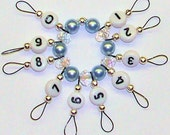 Row Counter for Knitting Small Loop Blue Swarovski Pearls and Crystal