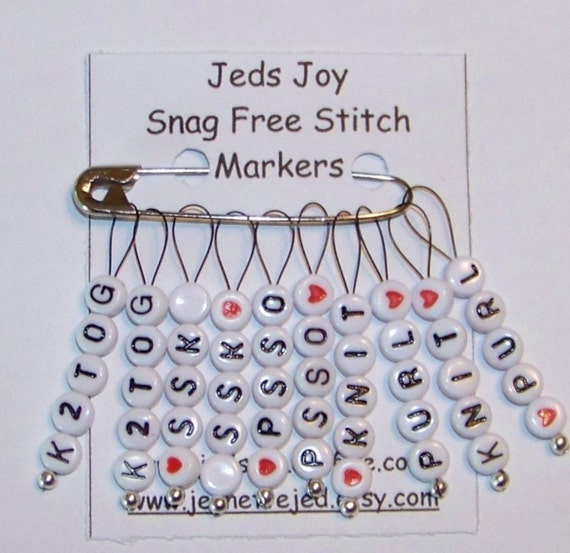 Using Stitch Markers In Lace Knitting : SnagFree Knitting Stitch Markers Set of 10 Knitting Words and