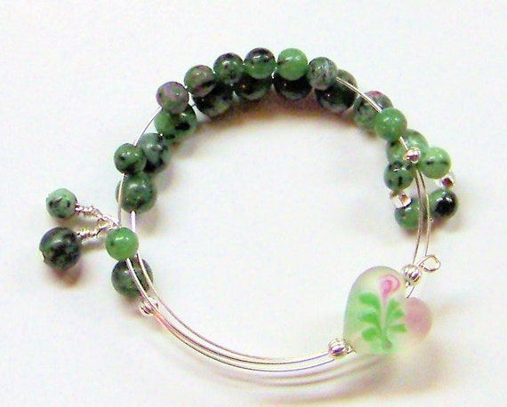 Ruby Zoisite Row Counter Bracelet for Knitting or Crochet One Size Fits All