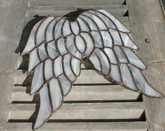 RESERVED - Stained Glass Angel Wings , Hanging Angel Wings, Glass Window Decor- made to order