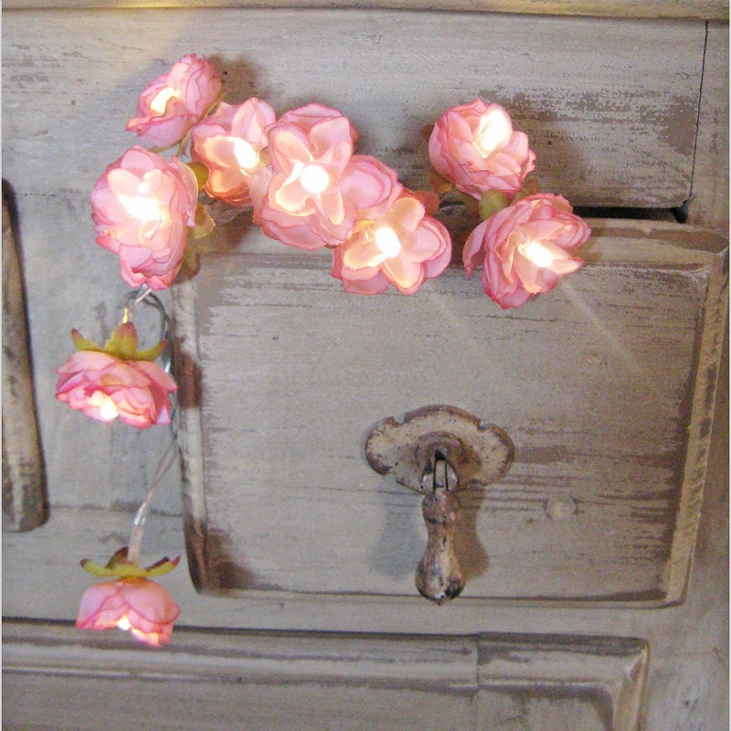 Diy Floral String Lights : Vintage Pink Wild Roses Fairy Lights