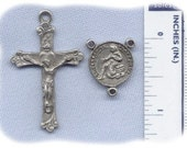 Pewter Saint Peregrine Cancer Rosary Part Set - Centerpiece and Crucifix