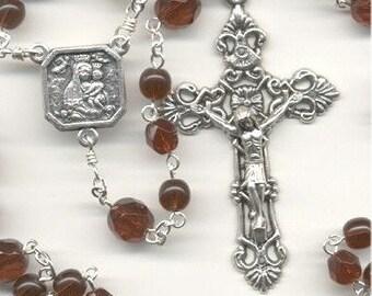 January Birthstone Rosary ~ Garnet Glass