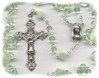 August Birthstone Rosary ~ Peridot Glass