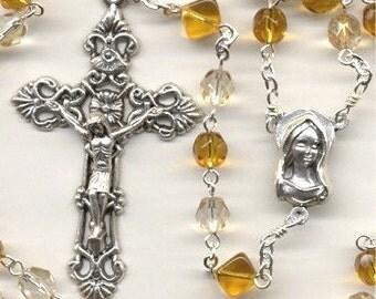 November Birthstone Rosary ~ Topaz Glass