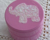 Hand Painted Love Boxes Pink Glitter Elephant Box Wood