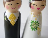 SALE Hand Painted Love Boxes Daisy Bride Groom Doll Cake Topper Wood
