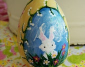 Hand Painted Love Boxes Easter Egg Ornament yellow wood