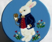 Hand Painted Love Boxes White Rabbit Box Blue Wood