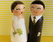 Hand Painted Love Boxes Custom Wedding Bride Groom Cake Topper Kokeshi Peg Dolls Wood