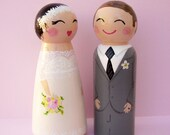 Hand Painted Love Boxes Custom Wedding Bride Groom Cake Topper Peg Doll Wood