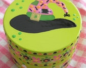 Hand Painted Love Boxes Halloween Witch Hat Pink Green Box Wood