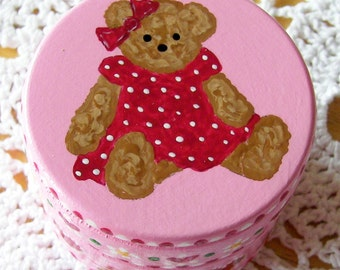 Hand Painted Love Boxes Pink Teddy Bear Box Wood