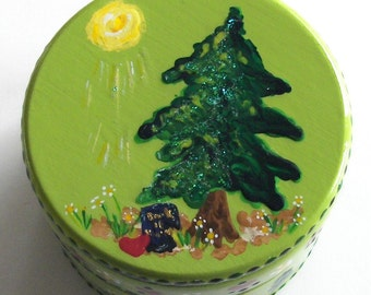 Hand Painted Love Boxes Green Tree Book of Mormon Box Wood
