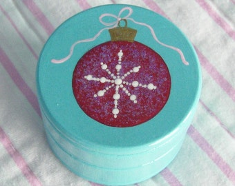 Hand Painted Love Boxes Red Christmas Ornament Box