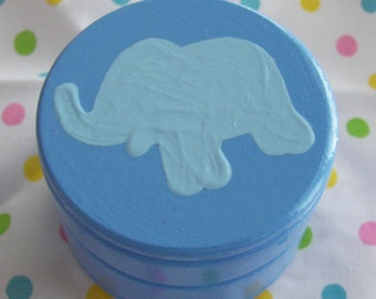 Hand Painted Love Boxes Blue Elephant Box Wood