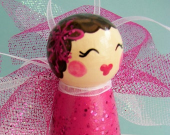 Hand Painted Love Boxes Pink Cupid Fairy Angel Peg Doll Wood