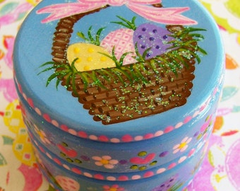 Hand Painted Love Boxes Periwinckle Blue Easter Basket Eggs Box Wood