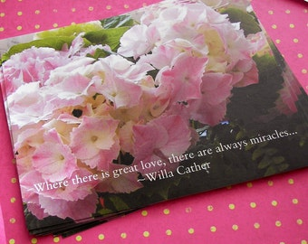 Hand Painted Love Boxes Pink Hydrangea Postcards 4x6 Pack of 10
