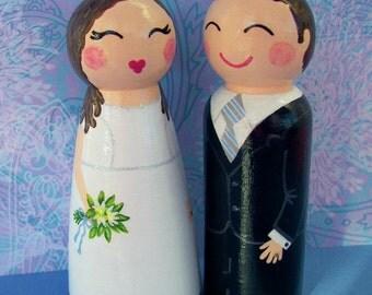 Hand Painted Love Boxes Custom Wedding Bride Groom Cake Topper Kokeshi Doll Wood