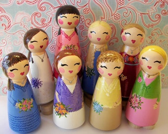 Hand Painted Love Boxes Custom Set of Eight 8 Friends Kokeshi Peg Cake Topper Doll Wood