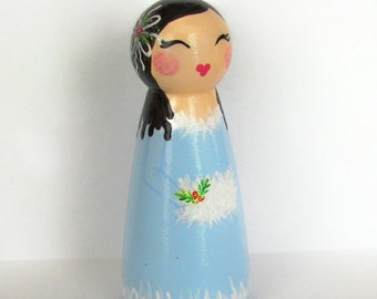 Hand Painted Love Boxes Blue Christmas Caroler Peg Doll Wood